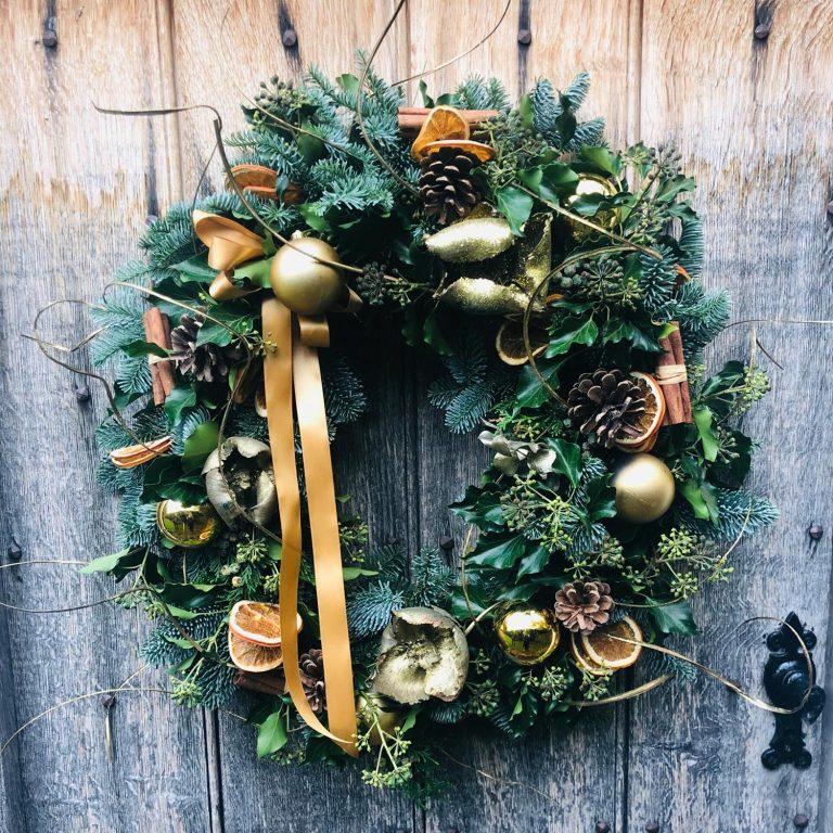 Golden Glow Christmas Wreath