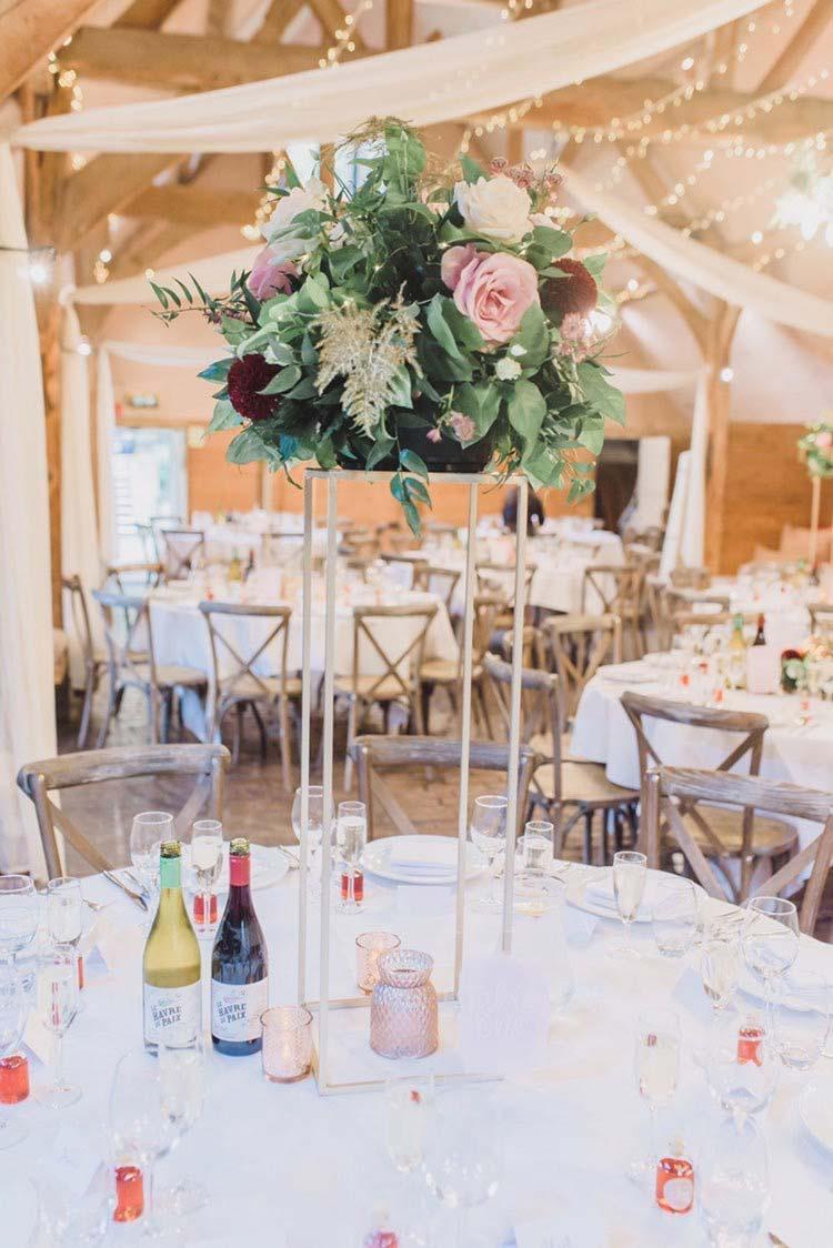 autumn wedding floral centrepiece